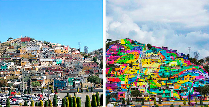 Pueblo-con-casas-pintadas-de-colores-Mexico-Antes-y-Despues