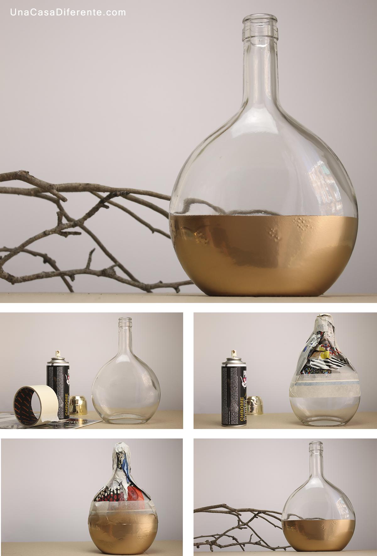 Como pintar botellas de cristal spray jarron diy
