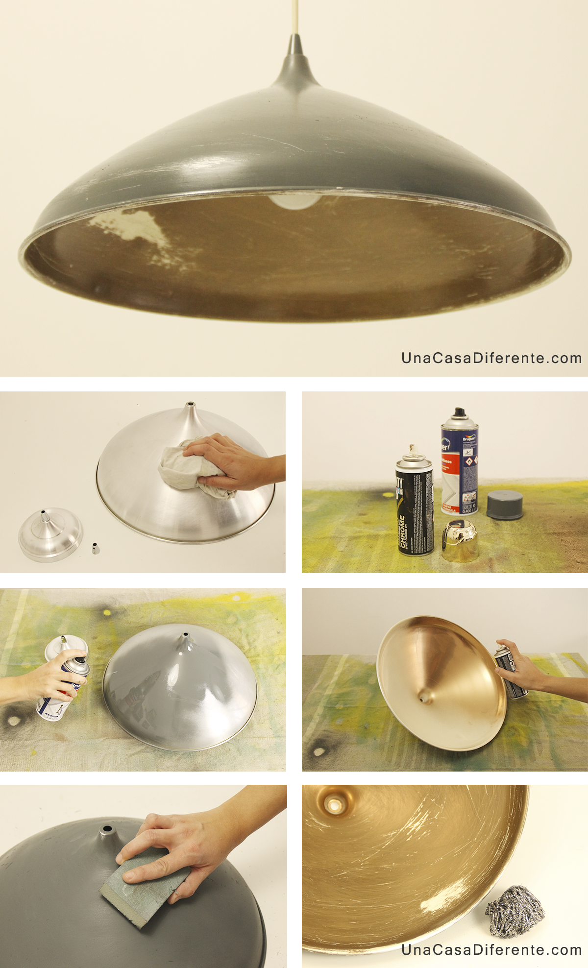 Como pintar lampara de metal spray diy lamp